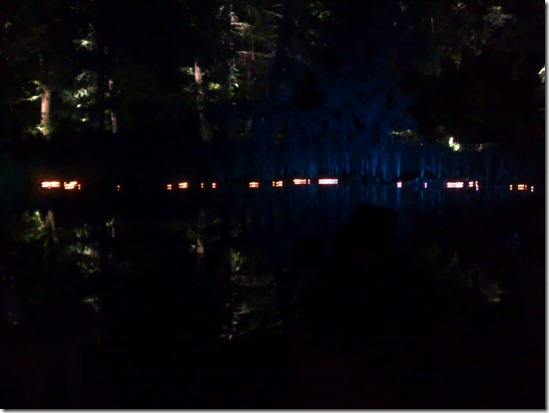 Teich mit Schwimm Lichtern